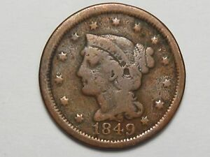 1849 US Braided Hair Large Cent Coin.  #47