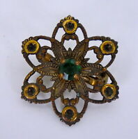 Vintage Antique Jewelry Gold Tone / Brass Star Brooch Pin with Green Glass Stone