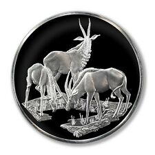 Franklin Mint East African Wild Life Society Roan Antelope 2 Oz Proof Silver Med