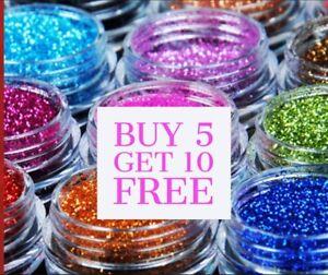 Glitter Pots ** BUY 5 Get 10 FREE** (ADD 15 )  Eyes Lips Face Body Craft Nail
