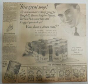 Campbell's Soup Ad: It's A Great Tomato Soup from 1930's 10 x 12 inches