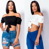 Women's Crop Top Off Shoulder Short Sleeve Casual T Shirt Top Blouse Tank Top