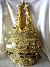 GOLD HANDMADE FULLY SEQUINED & BEADED CROCHET HANDBAG/EVENING PURSE/HOBO