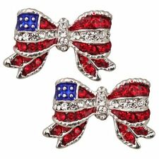Star Spangled Bow Pierced Earrings Silver-Tone with Red and Clear Crystals