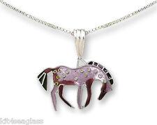 "Zarah Zarlite Purple Prancer HORSE NECKLACE Silver Plated Enamel 18"" - Gift Box"