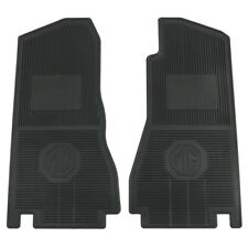 MGB & GT - Footwell mats - Rubber moulded black pair - MG logo 1968-1980 • NEW