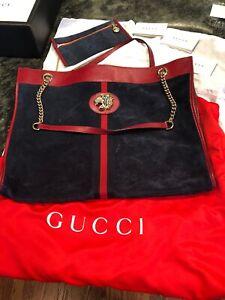 Gucci Rajah Maxi Blue Tote Suede Red Lion VEUC 100% Auth