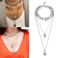Jewelry Alloy Lock Pendant Multi-Layer Long Chain Gothic Choker Punk Necklace