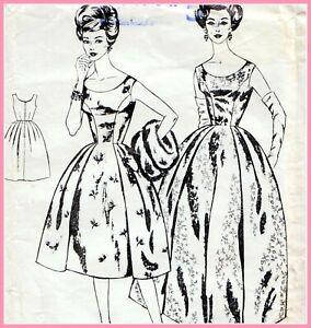 "Vintage 60s FULL SKIRT DRESS Sewing Pattern Bust 36"" Sz 12 EVENING Wedding PROM"