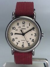 Timex Weekender Watch Indiglo T2n652 Military Dial Canvas Pink Band Silver