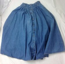 Vintage Liz Claiborne Liz Wear Sz 6 Denim Modest Pleated Circle Maxi Skirt USA