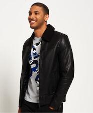 Superdry Idris Iconic Sherpa Collar Leather Flight Jacket XXL Black