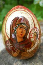 Oeuf de collection ancien Russe décor vierge à l'enfant sur laque rouge 1993