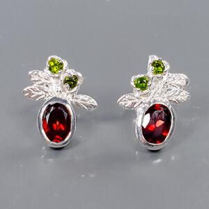 Jewelry Art Design Garnet Earrings Silver 925 Sterling   /E57688