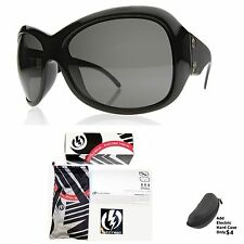 NEW Electric Mayday Gloss Black Gray Womens Oversize Wrap Sunglasses Msrp$120