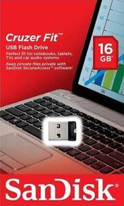 SanDisk Cruzer Fit Flash Drive 16GB USB 2.0 Memory Stick Mini USB Flash Drive