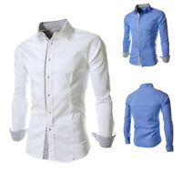 Casual Business Mens Luxury Shirts Stylish Slim Fit Long Sleeve Shirt Dress Tops