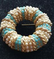 Vintage 1960s Sphinx faux pearl and turquoise circle brooch