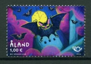Aland 2020 Mammals Bats Unique Unusual Fluorescent Stamp