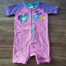 Hanna Anderson Size 80 Girls Pink Polka Dot Hearts Bodysuit Swimsuit 10-24 Month