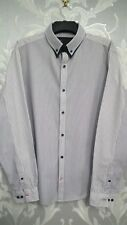 Mans Navy and White Thin Striped Long Sleeve Shirt From Next size XXL