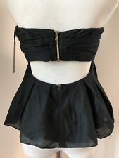 NWT l'agence Sz 4 women's pleated strapless top black ruffles lined open back