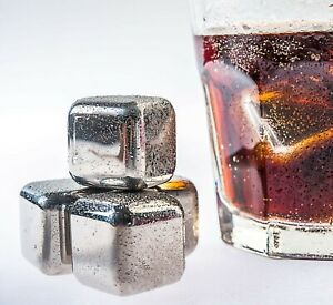 Stainless Steel Ice Cubes Reuseable 8Pack Includes Tongs And Storage Box -MIC108
