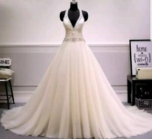 UK Sexy Ivory Sleeveless Tulle A Line Lace Wedding Dress Bridal Gown Size 12