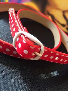 Fab Retro Red white polka dot Skinny rockabilly Belt XXS