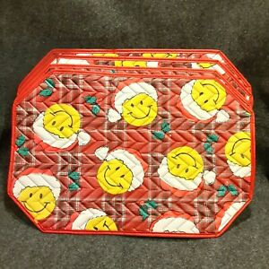 Set of 4 Vintage Christmas Smiley Face Placemats Santa Hat Plaid Vinyl Quilted