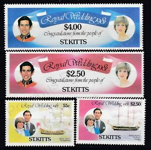 1981 Royal Wedding Charles & Diana MNH Stamp Set St Kitts