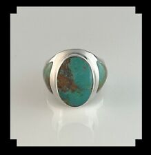 Sleek Native American Sterling and Turquoise Ring Size 7