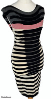TED BAKER Striped Stretchy Bodycon Dress Sz 1 / UK 8 Pencil Straight / b36