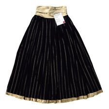 ESCADA NEW PLEATED LONG SKIRT BLACK GOLDEN SILK SIZE 8 EUR 38 MADE GERMANY $820