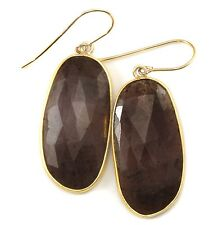 Dark Red Sapphire Earrings Natural Faceted Bezel 14k Solid Gold Long Oval Drops