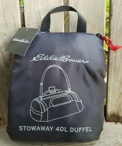 Eddie Bauer Duffel Bag Packable Stowaway 40L Ripstop Gym Lightweight Travel Gray