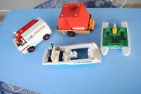 1970s Fisher Price Sea Explorer, Rescue Truck, Safari Trailer,boat with 4 people