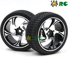 2pcs RC 1/10 On Road Tires & Aluminum Wheel Rims Hex 12mm For 1:10 Touring Car