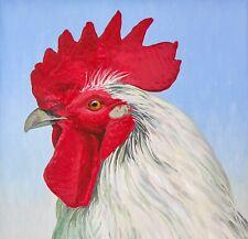 "Rooster 10""x10"" Chicken Farm Fine Folk Art Giclee Print Signed Bird Americana"
