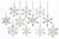 Iridescent Snowflakes Glass Christmas Ornament Set of 12 Decorations C2683 New