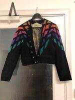 Dino'z Vintage 100% Suede Colourful Black Retro Multi Rainbow Jacket 12 14