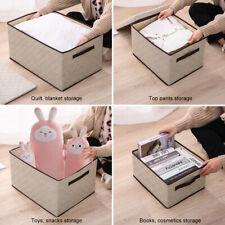 New Faltbar Aufbewahrungsbox Fabric Storage Organizer mit Griff Deckel Kleidung