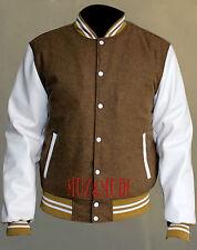 Camel Khaki Wool Varsity Bomber Jacket With White Real Leather Sleeves Letterman