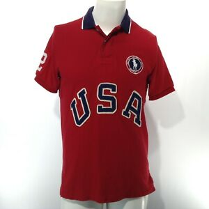 POLO Ralph Lauren 2012 OFFICIAL OLYMPIC Short Sleeve RED Shirt Medium Embroidery