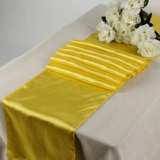 """Satin Table Runner 20 pcs 12""""X108"""" lines Wedding venue party decoration - Yellow"""
