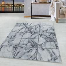 Kurzflor Design Teppich Wohnzimmerteppich Vierecke Muster Marmoriert Silber