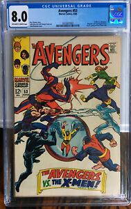 AVENGERS 53 CGC 8.0 VF FIRST Avengers vs X-men! Black Panther Hawkeye KEY ISSUE!