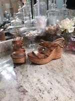 $297 Via Spiga  Platform Wedges Sandals Cork Ankle Strappy Tan 7