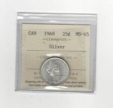 1968 Silver , ICCS Graded Canadian, 25 Cent, **MS-65**