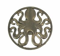 Antique Bronze Finished Cast Iron Octopus Wall Hanging 11.75 Inches In Diameter